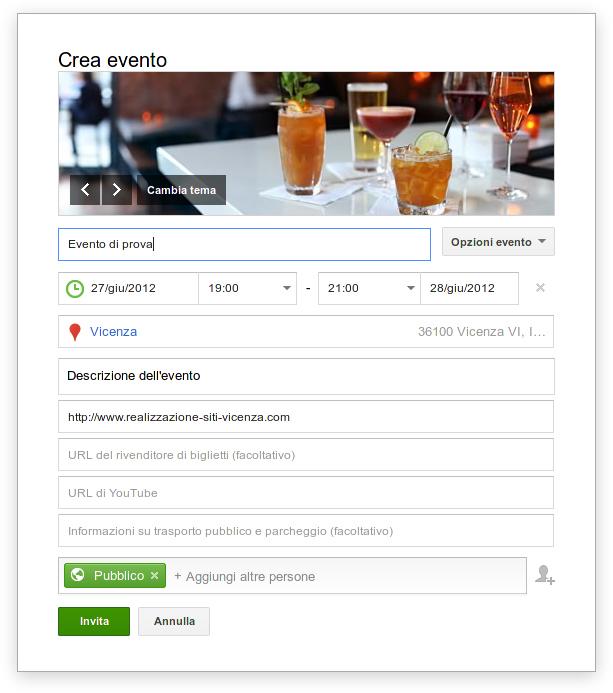 Creare evento con Google+ Eventi