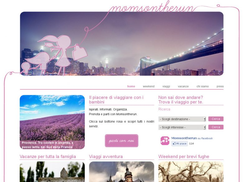 Esempio home page Momsontherun.it